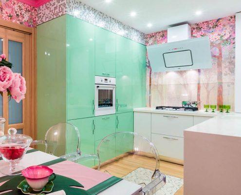 зелёно-розовая-кухня