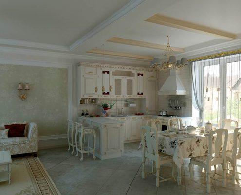 дизайн-кухни-в-частном-доме