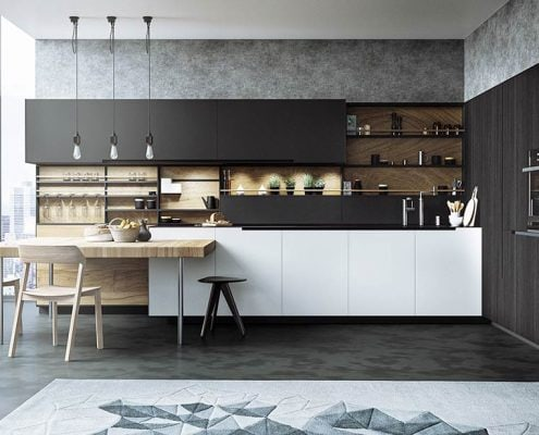 дизайн-чёрно-белой-кухни