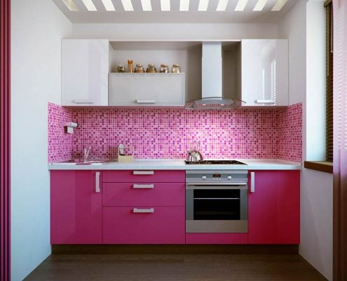 бело-розовая-кухня