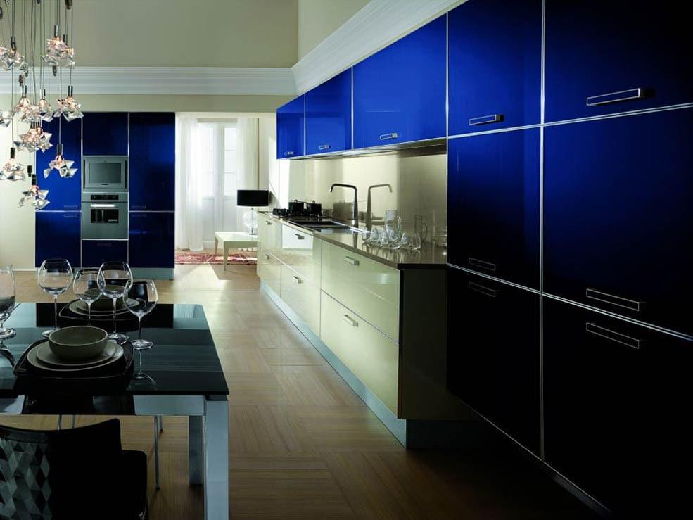 сине-бежевая-кухня