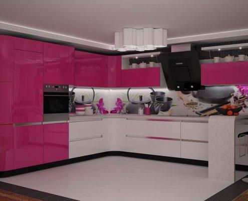 дизайн-розовой-кухни