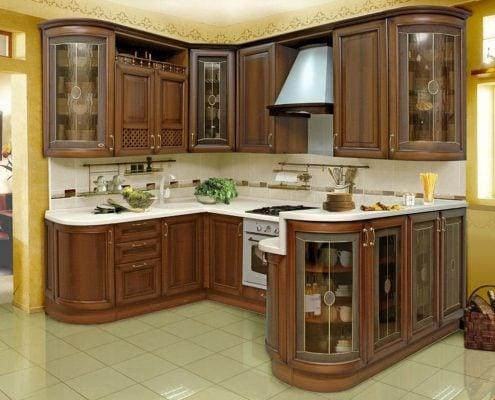 п-образная-кухня-классика-коричневая