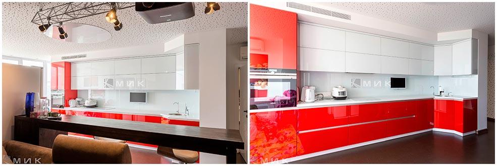 кухня-без-ручек-красно-белая