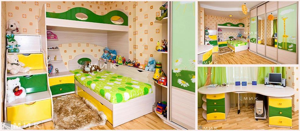 комплект-жёлтой-детской-мебели