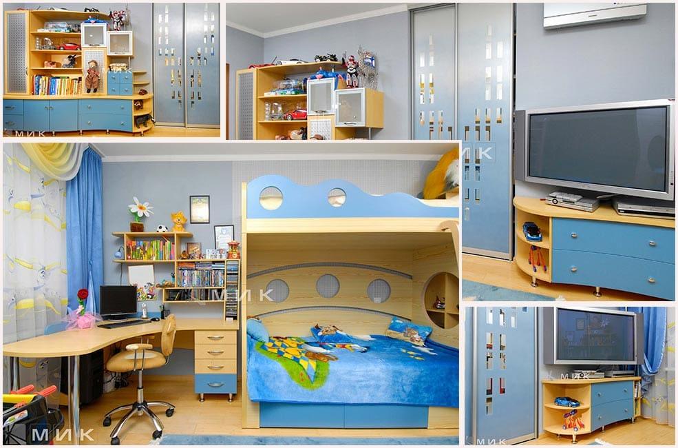 мебель-жёлто-голубого-цвета-для-детской-фото