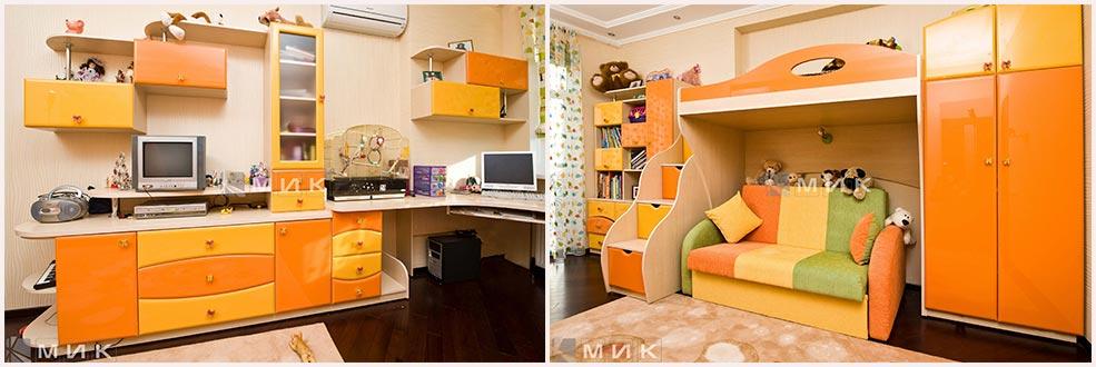 оранжевая-мебель-в-детскую