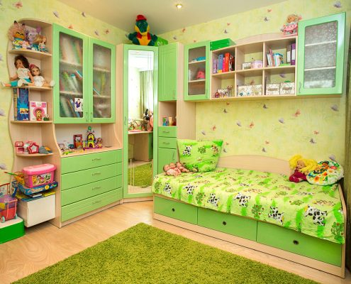 зелёная-мебель-для-детской-комнаты