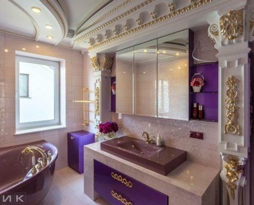 Фиолетовая-мебель-для-ванной-в-интерьере