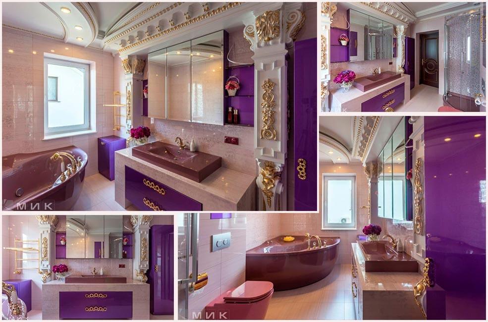 Фиолетовая-ванная-комната-в-классическом-стиле