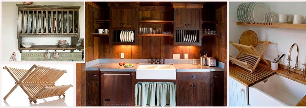 сушки-для-посуды-дерево-в-интерьере-фото