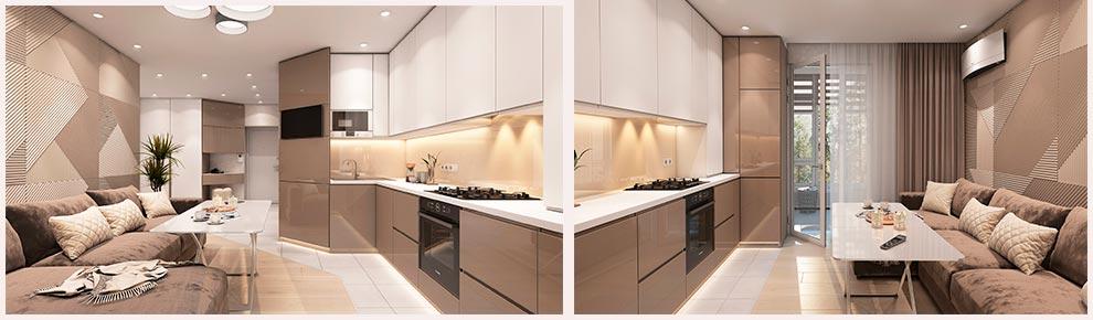 стильная-встроенная-кухня-кофейного-цвета-с-телевизором