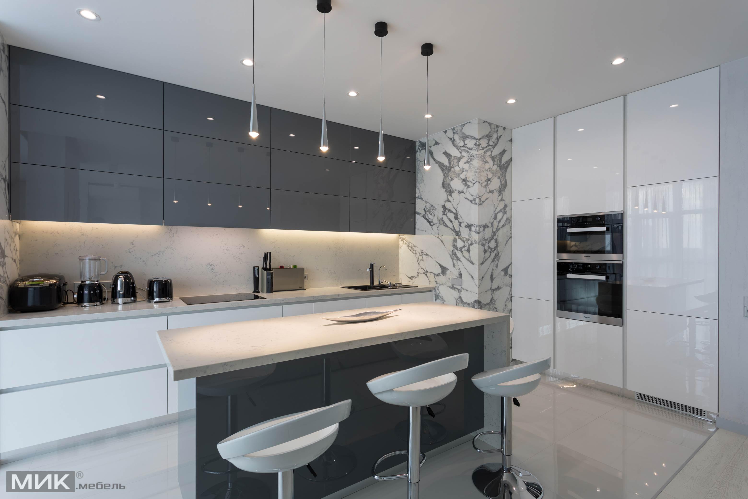 кухня модерн 2020 с мрамором