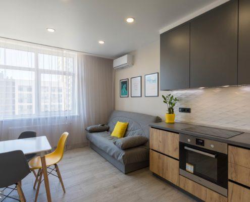 Кухня-студия-в-маленькой квартире