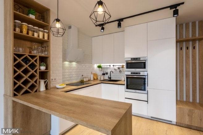 2-Белая кухня без ручек под потолок