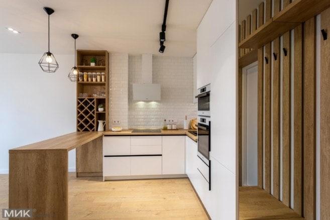 4-Белая кухня студия без ручек под