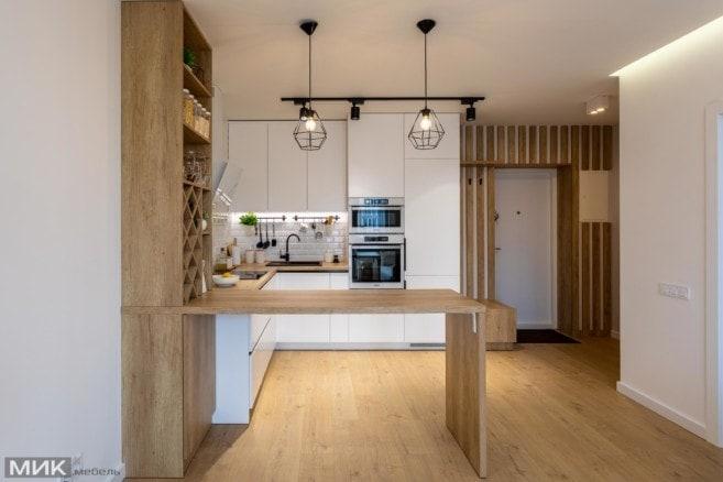 6-Белая кухня без ручек со столом